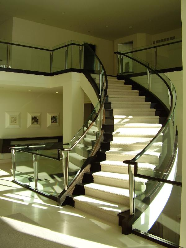 Curved Stairs Glass Panels Gallery - Roes Stair Company